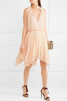 Chloé | Pleated silk-crepon dress | NET-A-PORTER.COM
