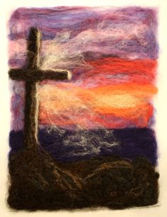 OLD RUGGED CROSS at Sunset on the Ocean Needle by TheWoolyWanderer Old Rugged Cross, Thomas Kinkade, Norman Rockwell, Christian Art, Crosses, Needle Felting, My Etsy Shop, Bible, Ocean