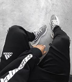 "Adidas Yeezy Boost 350 V2 ""Zebra"" with long sweatpants & Calabasas sweater."