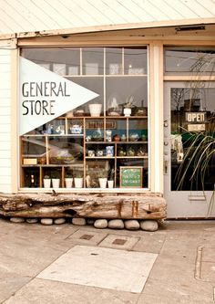 General Store - San Francisco. Asymmetrical shelving in window display.