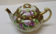 Vintage Teapot with Purple Lavender Flowers Gold Accents Hand Painted Nippon #Nippon
