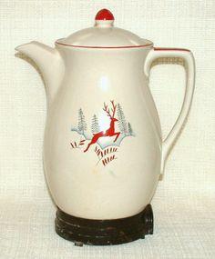Crown Devon Coffee Perculator Leaping Deer Retro Vintage Rare