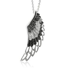 Sterling Silver Angel Feather Wing Black White Diamond Pendant Necklace 25 Ct | eBay