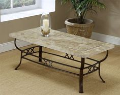 LINE Hillsdale Furniture - Brookside Wrought Iron Coffee Table w Fossil Stone Top Iron Coffee Table, Table, Cool Coffee Tables, Coffee Table Furniture, Hillsdale Furniture, Furniture, Table Furniture, Stone Coffee Table, Coffee Table