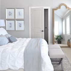 LOVE this giant mirror in the bedroom! Plus we will have more bedroom space than I know what to do with. Honey We're Home: Neutral Master Bedroom Refresh Glam Bedroom, Home Bedroom, Bedroom Decor, Bedroom Ideas, Grey Bedroom Walls, Big Mirror In Bedroom, Beige Carpet Bedroom, Bedroom Furniture, Giant Mirror