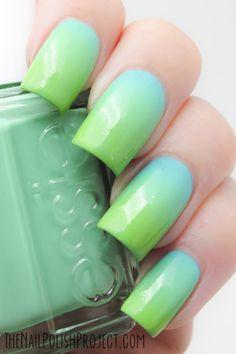 Nails: Essie Blue Green Gradient