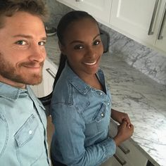 """Actress Tika Sumpter is engaged! The actress said """"yes"""" to her Have and Have Nots costar Nick James on Christmas morning. The couple welcomed their first daughter Ella-Loren James in October 2016 # Gorgeous interracial couple Arte Interracial, Interracial Dating Sites, Interracial Wedding, Interracial Celebrity Couples, Interracial Marriage, Mixed Couples, Couples In Love, Black Woman White Man, White Women"""