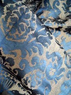 Antique FORTUNY Damasq Silk Fabric and Gold Metallic Threads Baroque Textiles | eBay