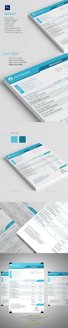 Invoice Template PSD, AI #design Download    graphicrivernet - Download Invoice