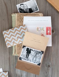 Laura's Modern Chevron Stripe + Kraft Save the Dates