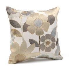 "With a lovely gold and silver themed flower print and an ivory background, this throw pillow is the perfect accent for any room. Pillow measures 16""Lx16""H Made of 100% polyester fiber Vibrant floral embroidery Hues of tan, cream, espresso, and taupe"