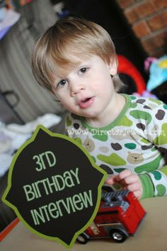Big list of questions to ask your kids each year on their birthday - so fun to see how their answers change (or stay the same)! #birthdays #kids #memorykeeping Director Jewels: Interview with Lincoln: 3 Years Old.