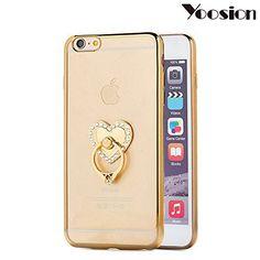 Yoosion TPU iPhone6 ケース リングスタンド付き 落下防止 滑り止め 柔らかい iPhone カバー 薄い型 かわいい 女性向け (iPhone6s / iPhone6 ホワイト ハート柄)