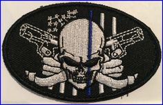 Thin Blue Line Skull And Guns Patch