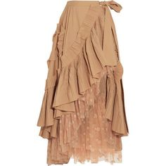 J.Crew Ruffled pleated cotton-blend poplin and polka-dot tulle midi... (4 725 PLN) ❤ liked on Polyvore featuring skirts, polka dot skirts, j crew skirts, pleated skirt, polka dot midi skirt and beige tulle skirt