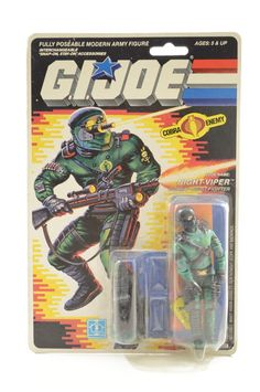 Vintage Cobra GI Joe 1989 Night Viper New Sealed MOC Unopened Lays Flat Nice! #Hasbro