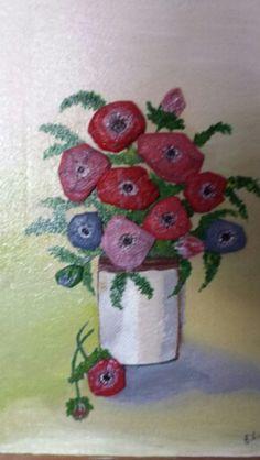 3D vase of flowers, using kitchen paper? Acrlic,  glue and varnush