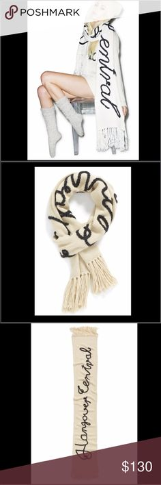 NWT Wildfox Hangover Central Scarf Soutache braiding spells out the words 'Hangover central' on a soft, stylish scarf that tells it like it is. Grey on cream.  70% acrylic, 15% nylon, 8% wool, 7% alpaca.  New with tags. Wildfox Accessories Scarves & Wraps