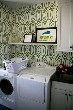 Beachy wallpaper in a laundry room in Stamford, CT