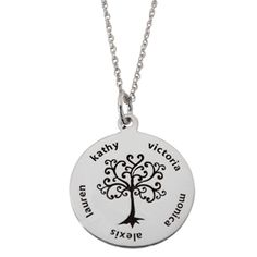 Mom Family Tree Necklace with Childrens Names - add up to 5 names on the edges on this cute family tree necklace. $49.99
