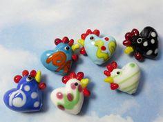 4 cheery chicken beads lampwork glass hens you by nightowlbeads