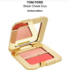 Tom Ford Sheer Cheek Duo- features two pink hues that bring a shimmery glow to bronzed summer skin. oil-free, soft highlighter and bold blush can be applied wet for a soft veil of color or dry for a sweeping pop of vibrancy. Use shades alone or layer together for long-lasting color that blends easily