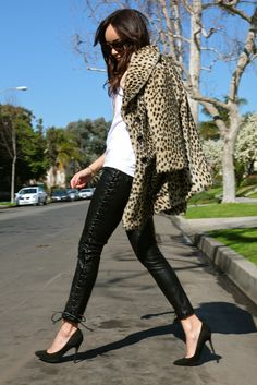 Leopard print jacket and faux leather trousers