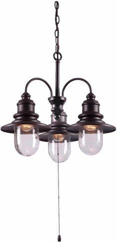 Coastal Style Blackened Oil Rubbed Bronze 3-Light Outdoor Decor Chandelier   #outdoor #lights #blackened #chandelier