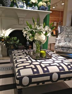 Ottoman...in graphic bold patterns make for wonderful conversational pieces and well as being functional and beautiful.