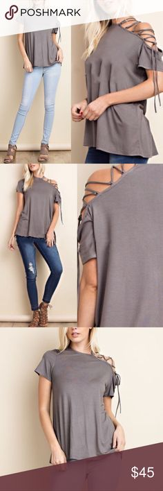 🆕VIENNA lace up cold shoulder top - GREY Soft rayon top with one side cold shoulder Lace up detail.   95% rayon, 5% spandex.  AVAILABLE IN GREY AND DEEP MAUVE  🚨🚨NO TRADE🚨🚨  🚨🚨PRICE FIRM🚨🚨 Bellanblue Tops Blouses
