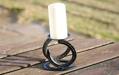 Horseshoe Candle Holder by WombleShoes on Etsy Horseshoe Boot Rack, Horseshoe Nail Art, Horseshoe Projects, Horseshoe Crafts, Metal Projects, Welding Projects, Metal Crafts, Art Projects, Welding And Fabrication