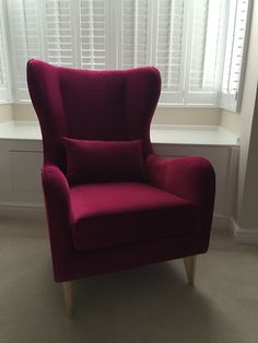 Linwood's Omega velvet (tulip) on our modern wingchair.  A cross between red, pink and purple?