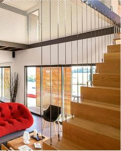 Garde corps escalier inox House Staircase, Staircase Railings, Staircase Design, Staircases, Interior Stairs, Interior Design Living Room, Wire Balustrade, Escalier Design, Stair Walls
