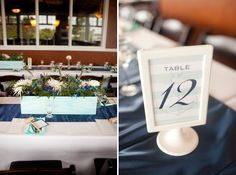 Navy and aqua centerpieces // Photographer: Katie Nesbitt Photography / Planning & Design: Antonia Christianson Events / Florist: Fluttering Flowers // see more: http://theeverylastdetail.com/2013/09/02/nautical-eclectic-navy-and-aqua-wedding/