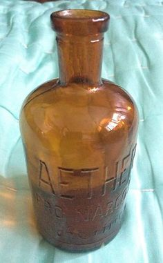 OLD, PHARMACY, APOTHECARY medicine Medical poison Anesthesia bottle Ether Aether.