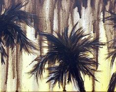 "Original ""Chocolate Rain"" Milk chocolate drips down over the warm yellow background as the wispy palm trees sway. By Art Room 278. 20 x 10"