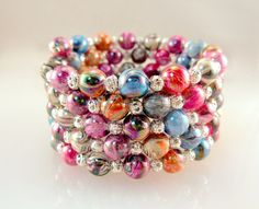 5 Strand Multi Colored Memory Wire Bracelet  Swirly by AllTwisted, $10.00