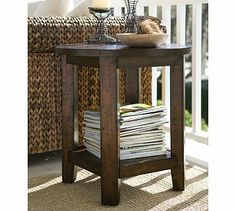 Benchwright Side Table - Rustic Mahogany stain #potterybarn