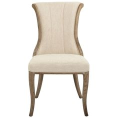 Home Decorators Collection Jacques Natural Linen Flared Back Side Chair (Set of 2) - 9886800350 - The Home Depot