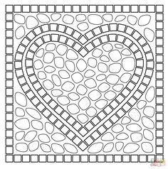 Mosaic heart coloring page | Free Printable Coloring Pages