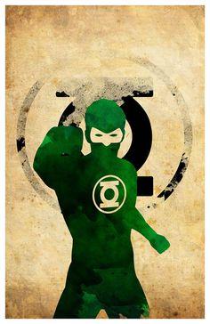 Superhéroe minimalista cartel linterna verde por MINIMALISTPRINTS