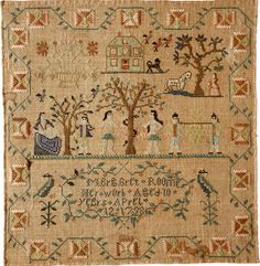 Antique sampler by Margaret Roome, NY dated 1798 from Betty Ring, Huber
