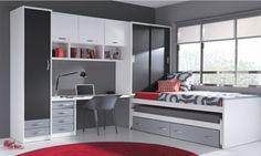 chambre d'ado en gris et blanc