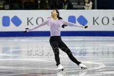 Mao Asada (JPN) during practice for the 2016 ISU Ladies World Championship at TD Garden in Boston, Massachusetts. (Photograph by Fred Kfoury III/Icon Sportswire)