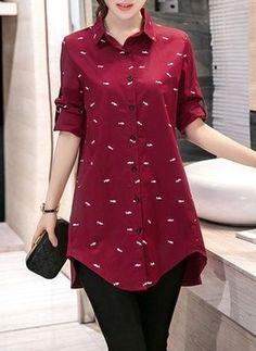Llanura Casuales Algodón Cuello Manga larga Camisas (1036309)