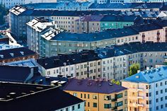 Viewed from the tower of the Olympic Stadium, the neighbourhood of Töölö becomes a pattern of colour, texture and perspective. Helsinki, Homeland, Finland, Sweden, Perspective, Scandinavian, The Neighbourhood, Cities, To Go