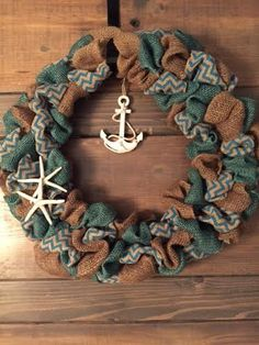 16 Nautical burlap wreath includes: blue chevron burlap, blue and brown burlap with starfish and anchor.    *Our diameter in wreaths vary