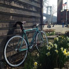 """Finally warm out! #nyc #eastriver #williamsburgbridge #bianchi #bianchisuperpista #fixie #fixedgear #fixieporn #bikeporn #trackbike #lowereastside"""