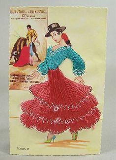 embroidered postcards antique elsi gumier   Vintage Embroidered Spanish Post Card Elsi Gumier Spain Sevilla 39 ...