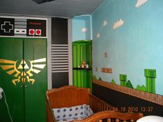 Nintendo Baby Room. THIS WILL BE THE ROOM OF MY BABIES!!!! >_< (...and my room too) This find just made my week.. actually my life pretty much.